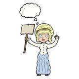 vicorian Frau der Karikatur, die mit Gedankenblase protestiert Lizenzfreie Stockbilder
