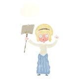 vicorian Frau der Karikatur, die mit Gedankenblase protestiert Lizenzfreie Stockfotografie