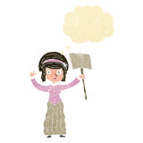vicorian Frau der Karikatur, die mit Gedankenblase protestiert Stockbilder