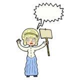 vicorian Frau der Karikatur, die mit Spracheblase protestiert Stockfotografie