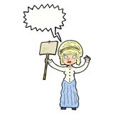 vicorian Frau der Karikatur, die mit Spracheblase protestiert Stockbilder
