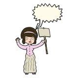 vicorian Frau der Karikatur, die mit Spracheblase protestiert Lizenzfreie Stockbilder