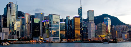 Victoria Harbour in Dusk Royalty Free Stock Photo