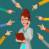 Victim Business Woman Vector. Public Censure. Scapegoat. Bullying Worker. Hands Pointing Finger. Illustration. Victim Business Woman Vector. Public Censure royalty free illustration