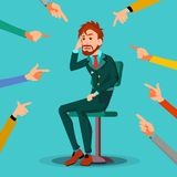 Victim Businessman Vector. Quilt Accusation. Frustrated Employee. A Lot Of Hands With Pointing Fingers. Illustration royalty free illustration