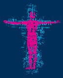 Victim of computer age. Crucified man, grunge stylized silhouette with binary codes and digital numbers. Vector available Stock Photos
