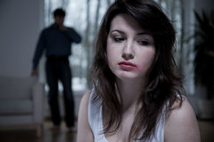 Victim of domestic abuse. Horizontal view of victim of domestic abuse royalty free stock photo
