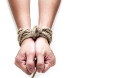 Victim, slave, prosoner male hands tied by big rope. Isolated on the white background. People have no freedom concept image royalty free stock photography
