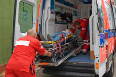 Victim on stretcher Royalty Free Stock Image
