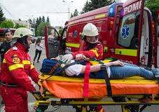Victim on stretcher Royalty Free Stock Photography