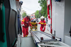 Victim transported in ambulance Stock Photos