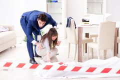 The victim wife at the scene on murder. Victim wife at the scene on murder stock photography