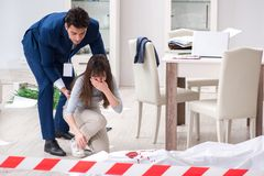 The victim wife at the scene on murder. Victim wife at the scene on murder royalty free stock photography
