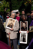 Victims of Franco's dictatorship 1. This is a group of protesters against the trial that judge Garzon has to suffer. They are showing photos of Franco's victims Stock Image