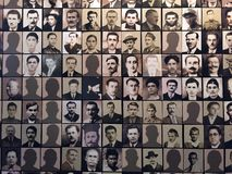 Victims Photos, Museum of the Kalavryta Holocaust, Peloponnese, Greece. Photographic display, Museum of the Kalavryta Holocaust, Peloponnese, Greece. Photos of stock image