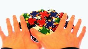 Victoire de casino de gains de puce de tisonnier Photos libres de droits