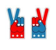 Victoire de doigt de mousse Symbole de patriote des Etats-Unis Signe américain de sports Images stock