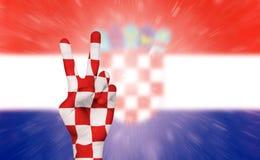 Victoire pour la Croatie, célébration de passioné du football photographie stock libre de droits
