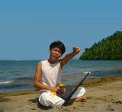 Victoire sur la plage. Image libre de droits