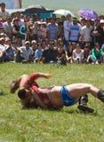 Victoires mongoles de lutteur Photographie stock libre de droits