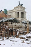 Victor Emmanuel II monument under snow Royalty Free Stock Photography