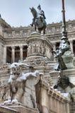 Victor Emmanuel II monument under snow Stock Photos