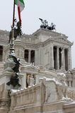 Victor Emmanuel II monument under snow in Rome Royalty Free Stock Photography