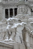 Victor Emmanuel II monument under snow in Rome Stock Images