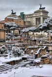 Victor Emmanuel II monument under snow Royalty Free Stock Photo