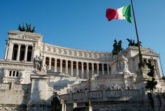 The Victor Emmanuel Monument, Piazza Venezia, Rome, Italy. stock images