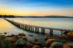 Victor Harbor fotbro på solnedgången Royaltyfri Foto