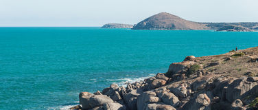 Victor Harbor, Granite Island and a man Royalty Free Stock Photos