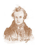 Victor Hugo Engraving Style Sketch Portrait Stock Photos