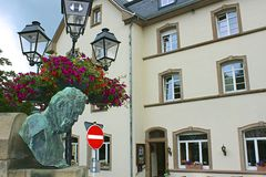 Victor Hugo monument in Vianden, Luxembourg Royalty Free Stock Photos