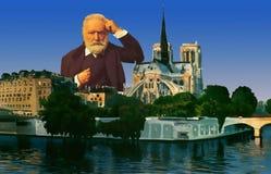 Victor Hugo Portrait in Paris. Victor Hugo portrait with Notre-Dame , Paris, France stock photos