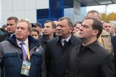 Victor Korman, Yuri Borisov and Dmitry Medvedev Royalty Free Stock Photography