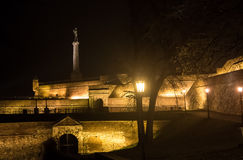 The Victor monument. On Kalemegdan Fortress at night. Belgrade, Serbia Royalty Free Stock Image