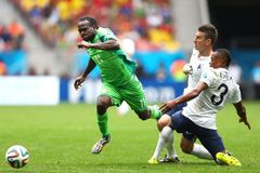 Victor Moses , Patrice Evra and Laurent Koscielny  Coupe du monde 2014 Stock Photography