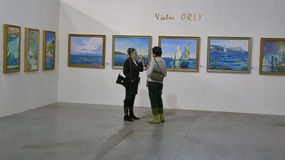 Victor ORLY exhibition in Kiev Stock Images