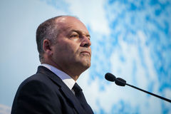 Victor Pinchuk at the opening of the 11th Annual Meeting of Yalt Stock Photo