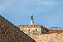Victor statue on Kalemegdan fortress seen from the bottom in Belgrade, Serbia. NnPicture of the iconic victory statue seen on Belgrade`s fortress, Kalemegdan stock images