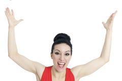 victor szczęśliwy Sukces biznesowa kobieta Fotografia Stock