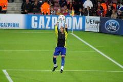 Victor Valdes fotbollvärldsstjärna, tidigare målvakt för FC Barcelona, Spanien Fotografering för Bildbyråer