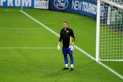 Victor Valdes fotbollvärldsstjärna, tidigare målvakt för FC Barcelona, Spanien Arkivfoto