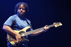 Victor Wooten. ISTANBUL - JULY 8: Jazz musician Victor Wooten played at the Cemil Topuzlu Open Air Theater, July 8, 2009, in Istanbul, Turkey Stock Photos