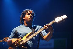 Victor Wooten. ISTANBUL - JULY 7: Jazz musician Victor Wooten played at the Cemil Topuzlu Open Air Theater, July 8, 2009, in Istanbul, Turkey Royalty Free Stock Images