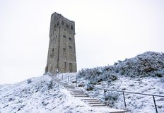 Victoratoren op Kasteelheuvel in Huddersfield, West-Yorkshire, Engeland stock afbeelding