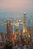 victori för stadsHong Kong panorama- horisont Arkivfoton