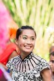 "VICTORIA, †de SEYCHELLES ""26 de abril de 2014: Mulher feliz do smilig em t Fotografia de Stock"