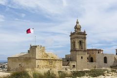 Cathedral and flag of Malta Royalty Free Stock Images